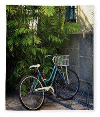 Blue Bike-  By Linda Woods Fleece Blanket