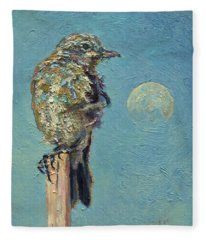 Blue Bird Moon Fleece Blanket