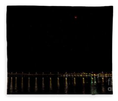 Blue Blood Moon 2018 Ventura, California Pier Fleece Blanket