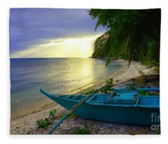 Blue Boat And Sunset On Beach Fleece Blanket