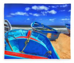 Blue Boats Fleece Blanket