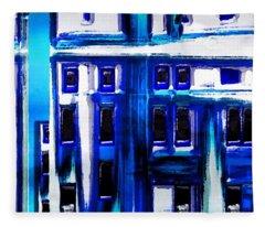 Blue Buildings Fleece Blanket