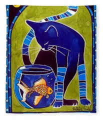 Blue Cat With Goldfish Fleece Blanket