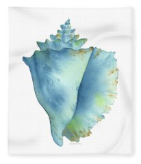 Blue Conch Shell Fleece Blanket