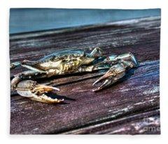 Blue Crab - Above View Fleece Blanket