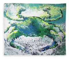 Blue Crab Abstract Fleece Blanket