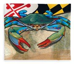 Blue Crab Of Maryland Fleece Blanket