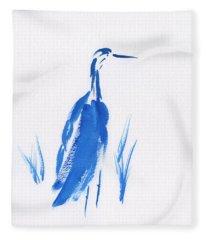 Blue Crane Fleece Blanket