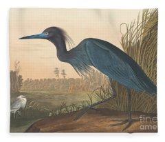 Blue Crane Or Heron Fleece Blanket