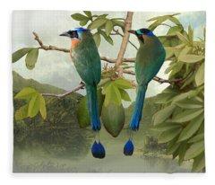Blue-crowned Motmots In Kapok Tree Fleece Blanket