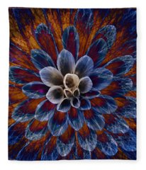 Blue Dahlia Fleece Blanket
