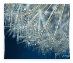 Blue Dandelion Dew By Kaye Menner Fleece Blanket