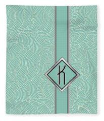 1920s Blue Deco Jazz Swing Monogram ...letter K Fleece Blanket