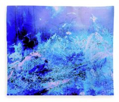 Blue Digital Artwork With Dots And Stripes And Sandstone Finish Fleece Blanket