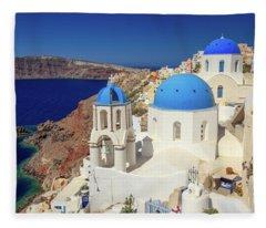 Blue Domed Churches Fleece Blanket
