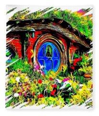 Blue Door Hobbit House-t Shirt Fleece Blanket