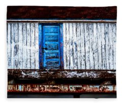 Blue Door Old Mill Building Fleece Blanket