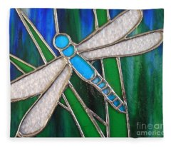 Blue Dragonfly On Reeds With Bluey Green Background Fleece Blanket