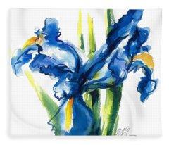Blue Dutch Iris Flower Painting Fleece Blanket