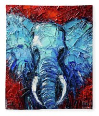 Blue Elephant Palette Knives Impasto Abstract Oil Painting Fleece Blanket
