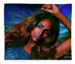 Blue Eyeshadow Beauty Fleece Blanket