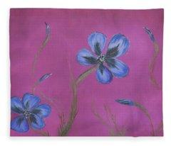 Blue Flower Magenta Background Fleece Blanket