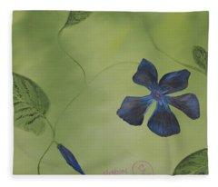 Blue Flower On A Vine Fleece Blanket