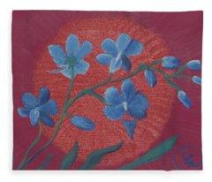 Blue Flower On Magenta Fleece Blanket