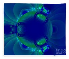 Blue Green Globe Luminant Fractal Fleece Blanket