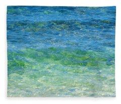 Blue Green Waves Fleece Blanket