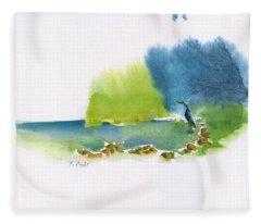 Blue Heron In The Stream Fleece Blanket