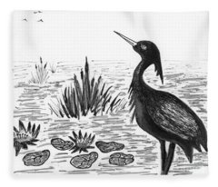 Crowned Night Heron Lily Pond Paradise In Ink D1 Fleece Blanket