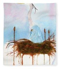 Blue Heron Nesting Fleece Blanket