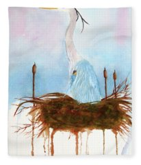 Blue Heron Nesting Fleece Blanket
