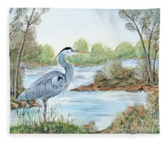 Blue Heron Of The Marshlands Fleece Blanket