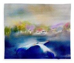 Blue Heron Over Lake Abstract Fleece Blanket