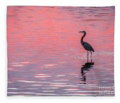 Blue Heron - Pink Water Fleece Blanket