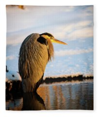 Blue Heron Resting Fleece Blanket