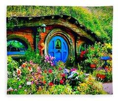 Blue Hobbit Door Fleece Blanket