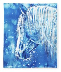 Blue Horse Fleece Blanket