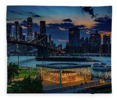 Blue Hour At Brooklyn Bridge Park Fleece Blanket