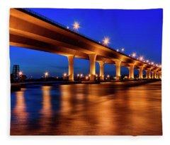 Blue Hour At Roosevelt Bridge In Stuart Florida  Fleece Blanket