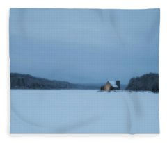 Blue Hour At The Old Stone Church Fleece Blanket