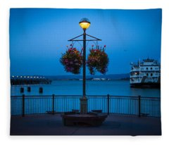 Blue Hour At The Waterfront Fleece Blanket