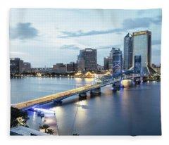 Blue Hour In Jacksonville Fleece Blanket