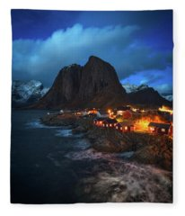 Blue Hour In Lofoten Fleece Blanket