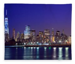 Blue Hour Panorama New York World Trade Center With Freedom Tower From Liberty State Park Fleece Blanket