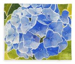 Blue Hydrangea Stained Glass Look Fleece Blanket