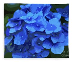 Blue Hydrangea Stylized Fleece Blanket