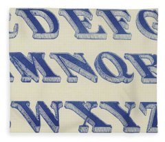 Blue Italian Shaded Font Fleece Blanket